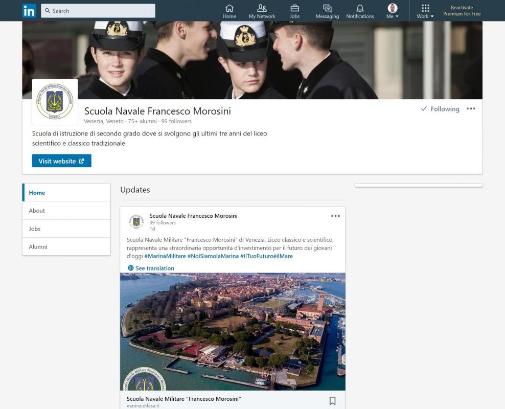 Creata pagina ufficiale della Scuola in Linkedin