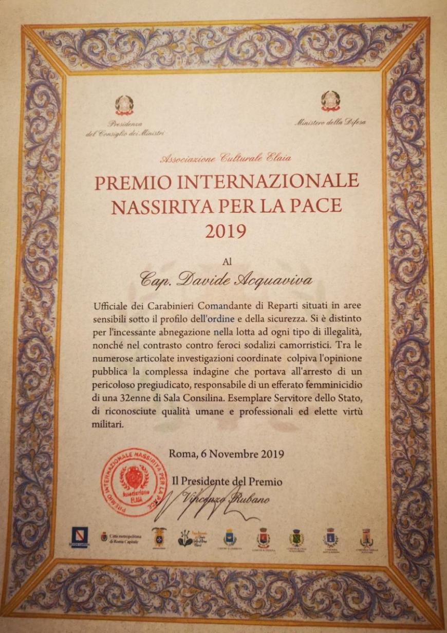 Premio internazionale Nassiriya per la Pace 2019